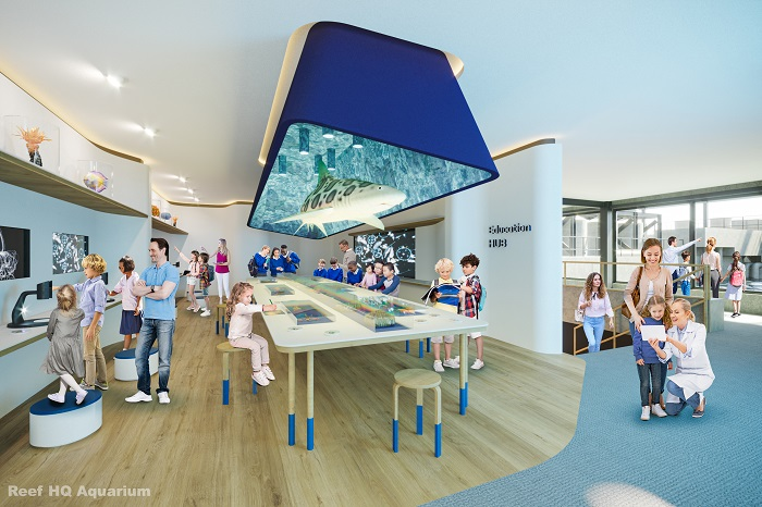 Concept of Reef HQ Aquarium's Reef Education Hub - a hands on learning area for groups and repeat visitors