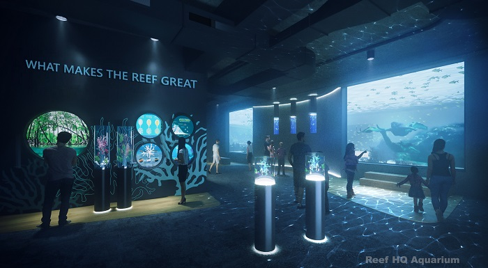 Concept image of Reef HQ Aquarium's revitalised exhibits and narrative journey for what makes the Reef great
