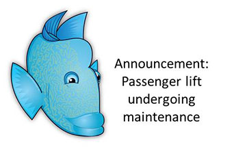 Image of the Maori Wrasse with the words passenger lift undergoing maintenance