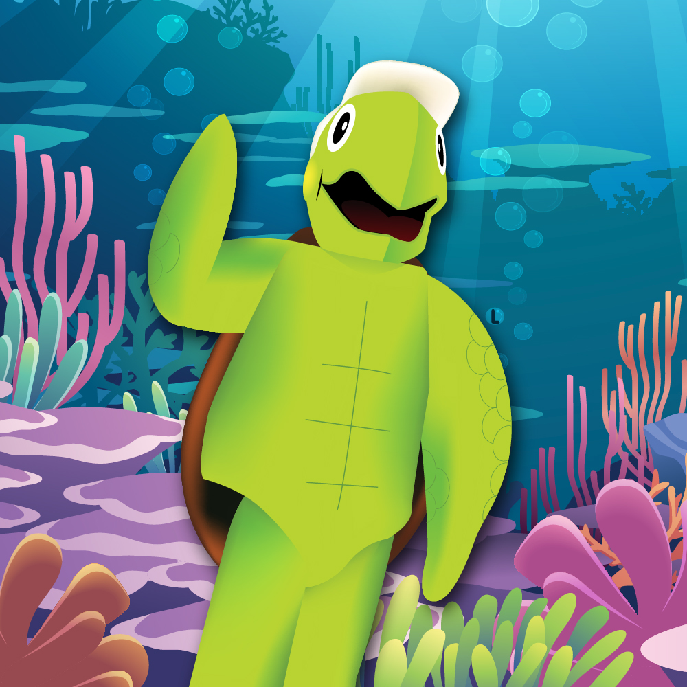 Reef HQ Aquarium's LuckyT Turtle waves from the Great Barrier Reef