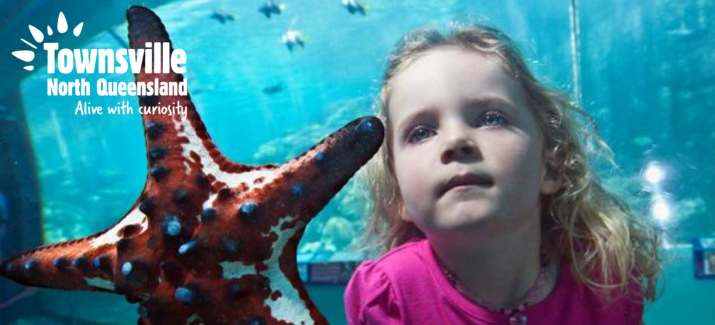 Girl looking at sea star