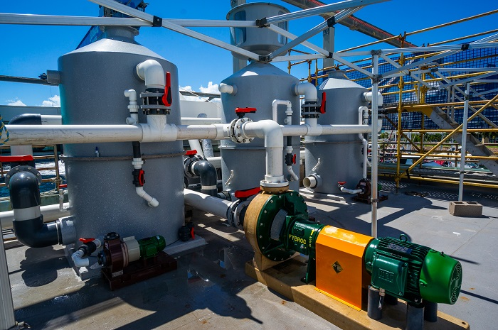 The protein skimmers have been lowered to decrease energy required for the pumps.
